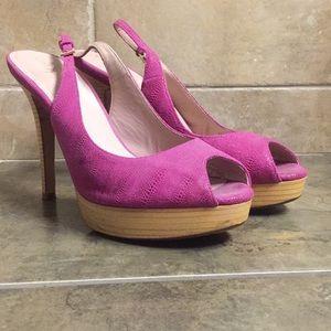 Hot pink platform slingback heels